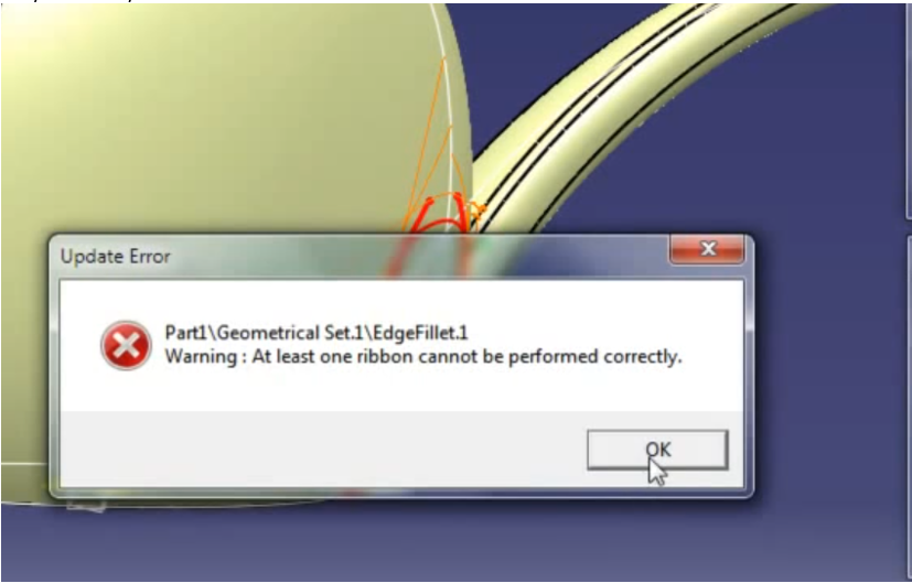 Dassualt Systemes CATIA model creating 5mm surface fillets