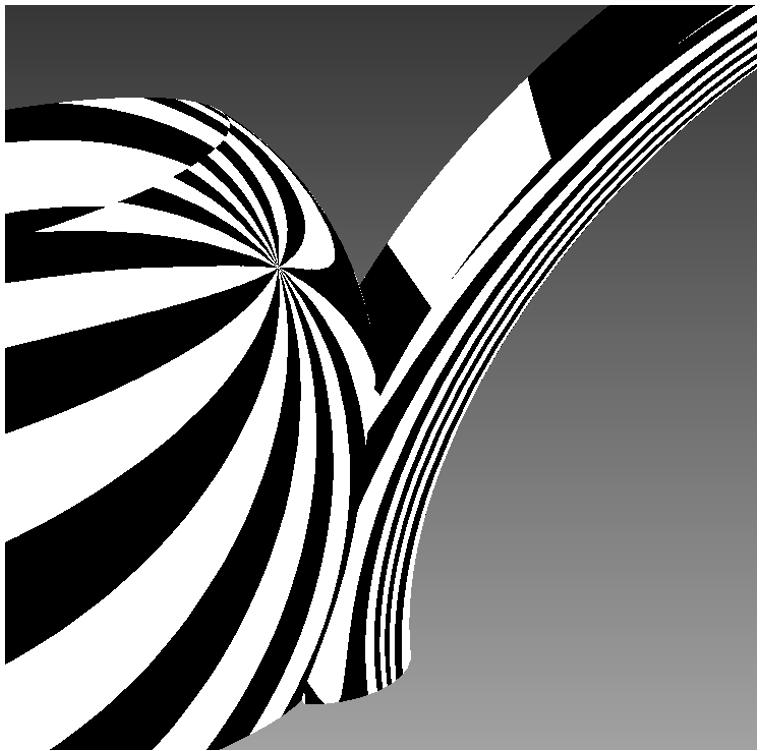 Reprsentation of Dassault Systemes CATIA model under zebra analysis