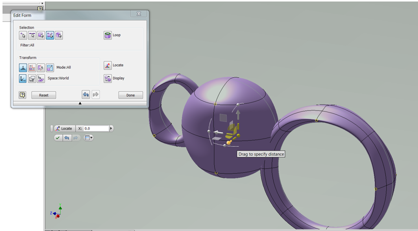 Autodesk Inventor model  in the Freeform Environment