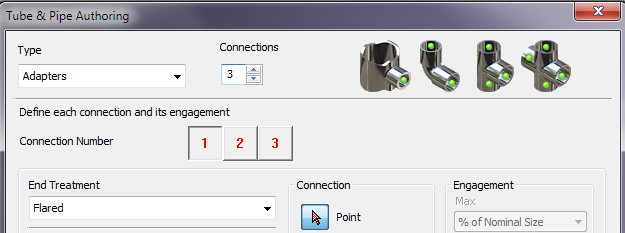 tube and pipe dialog boxes